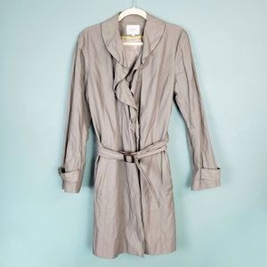 Ann Taylor Loft Ruffle Trench Coat Belted Jacket